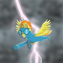 Size: 1000x1000 | Tagged: artist:shoophoerse, atg 2019, clothes, flying, goggles, grin, lightning, newbie artist training grounds, pegasus, pony, safe, smiling, solo, spitfire, uniform, wonderbolts, wonderbolts uniform