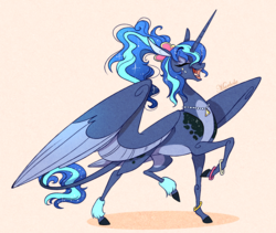 Size: 2297x1935 | Tagged: safe, artist:marbola, princess luna, alicorn, pony, between dark and dawn, spoiler:s09e13, 80s princess luna, alternate hairstyle, eyes closed, female, leonine tail, mare, raised hoof, smiling