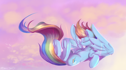 Size: 1800x1000 | Tagged: safe, artist:sketchiix3, rainbow dash, pegasus, pony, backwards cutie mark, eyes closed, female, flying, frog (hoof), mare, solo, underhoof