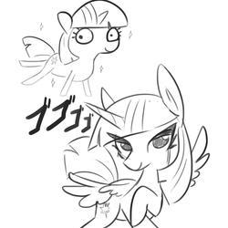 Size: 1152x1152 | Tagged: safe, artist:tjpones, twilight sparkle, alicorn, pony, sparkles! the wonder horse!, anime, duality, duo, female, grayscale, jojo's bizarre adventure, mare, menacing, monochrome, pose, raised hoof, simple background, sparkles, stand, twilight sparkle (alicorn), white background, ゴ ゴ ゴ