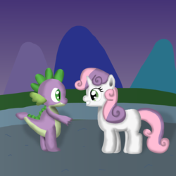 Size: 3092x3092 | Tagged: artist:platinumdrop, safe, spike, sweetie belle