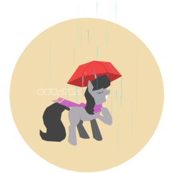 Size: 1000x1000 | Tagged: safe, artist:mlp-frank, octavia melody, earth pony, pony, clothes, eyes closed, female, grin, hooves, lineless, mare, rain, scarf, simple, smiling, solo, umbrella, vector