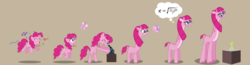 Size: 2427x628 | Tagged: artist:magerblutooth, butterfly, commission, confetti, earth pony, equation, erlenmeyer flask, eyes closed, faded cutie mark, formula, giraffe, giraffe pie, giraffied, glasses, horns, jumping, long neck, medallion, mental shift, microscope, one eye closed, personality change, pinkamena diane pie, pinkie pie, pony, safe, scientist, series:mlp transformed, show accurate, simple background, species swap, story included, thought bubble, tongue out, transformation, transformation sequence, vector