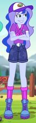 Size: 2048x6940 | Tagged: safe, princess luna, equestria girls, legend of everfree, badge, belt, camp everfree outfits, clothes, hiking boots, legs, neckerchief, shorts, snapback, socks, vice principal luna