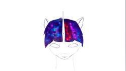 Size: 1921x1080 | Tagged: safe, artist:nettrip, twilight sparkle, pony, unicorn, empty eyes, iridescence, simple background, solo, space