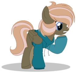 Size: 384x381 | Tagged: artist:raflesplatt, base used, clothes, female, hoodie, mare, oc, oc:rosebelle, offspring, parent:dumbbell, parent:fluttershy, parents:dumbshy, pegasus, pony, safe, simple background, solo, transparent background