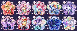 Size: 3600x1459 | Tagged: safe, artist:animechristy, applejack, fluttershy, pinkie pie, princess celestia, princess luna, rainbow dash, rarity, starlight glimmer, sunset shimmer, twilight sparkle, alicorn, earth pony, pegasus, pony, unicorn, alternate hairstyle, bell, braid, cherry blossoms, clothes, flower, flower blossom, hair bun, hairpin, kimono (clothing), kitsune, looking at you, mane six, ponytail, twilight sparkle (alicorn), updo