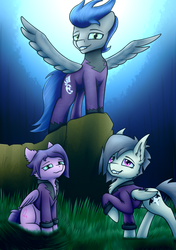 Size: 600x850 | Tagged: safe, artist:kripperok, descent, oc, oc:gravel shine, bat pony, pegasus, pony, bat pony oc, clothes, costume, female, forest, forest background, grass, jacket, male, mare, moonlight, original character do not steal, shadowbolts, shadowbolts costume, stallion