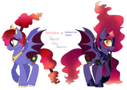 Size: 1593x1121 | Tagged: safe, artist:unoriginai, oc, bat pony, bat pony oc, jewelry, magical lesbian spawn, nightmarified, offspring, parent:applejack, parent:princess luna, parents:lunajack, regalia, simple background, text, transparent background