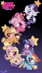 Size: 514x900 | Tagged: safe, artist:zombie, applejack, fluttershy, pinkie pie, rainbow dash, rarity, twilight sparkle, alicorn, bat pony, bat pony alicorn, earth pony, pegasus, pony, unicorn, applebat, bat ponified, bat wings, chibi, fangs, flutterbat, frog (hoof), looking at you, mane six, open mouth, race swap, rainbowbat, rarabat, simple background, starry eyes, stars, tongue out, twibat, twilight sparkle (alicorn), underhoof, upside down, wingding eyes, wings