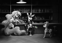 Size: 1790x1250 | Tagged: safe, artist:adeptus-monitus, princess celestia, oc, oc:lapush buns, alicorn, pony, princess molestia, bar, barstool, bunnycorn, commission, drink, female, male, mare, money, noir, partial color, saddle, sitting, stallion, tack, tongue out, trio, waitress