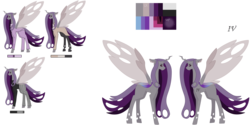 Size: 9921x4960 | Tagged: absurd res, artist:moonlight0shadow0, changepony, clothes, coat, ear piercing, earring, eyeliner, hybrid, icey-verse, interspecies offspring, jewelry, magical lesbian spawn, makeup, male, multicolored hair, oc, oc only, oc:prince dust, offspring, pants, parent:princess cadance, parent:queen chrysalis, parents:cadalis, piercing, reference sheet, safe, shirt, simple background, socks, solo, stallion, stockings, suit, sweater, tattoo, thigh highs, transparent background