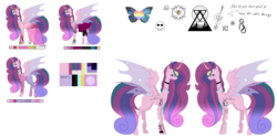 Size: 9921x4960 | Tagged: absurd res, artist:moonlight0shadow0, boots, bracelet, changepony, choker, clothes, crown, dress, ear piercing, earring, female, heart, hoodie, hoof shoes, horn, horn ring, hybrid, icey-verse, interspecies offspring, jeans, jewelry, leggings, magical lesbian spawn, mare, multicolored hair, necklace, oc, oc:lovebug (ice1517), oc only, offspring, pants, parent:princess cadance, parent:queen chrysalis, parents:cadalis, piercing, reference sheet, regalia, safe, shirt, shoes, simple background, skirt, socks, solo, stockings, striped socks, tattoo, thigh highs, transparent background, t-shirt, wristband
