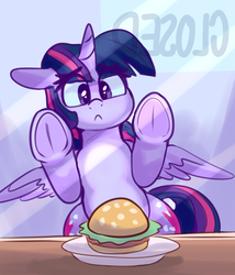 Size: 3137x3665 | Tagged: against glass, alicorn, artist:graphene, atg 2019, both cutie marks, burger, closed, cute, female, food, frog (hoof), frown, glass, mare, newbie artist training grounds, ponies eating meat, pony, restaurant, safe, solo, that pony sure does love burgers, twiabetes, twilight burgkle, twilight sparkle, twilight sparkle (alicorn), underhoof, want