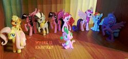 Size: 1280x589 | Tagged: safe, applejack, fluttershy, pinkie pie, princess cadance, princess luna, rainbow dash, rarity, spike, twilight sparkle, alicorn, dragon, pony, zebra, figure, mane six, photo, twilight sparkle (alicorn)