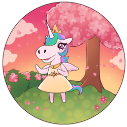 Size: 600x600 | Tagged: animal crossing, anthro, artist:milkcubus, bush, clothes, cloud, crossover, day, dress, field, hill top, horse face, princess celestia, safe, simple background, sundress, transparent background, tree, video game