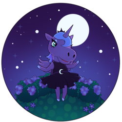 Size: 600x600 | Tagged: animal crossing, anthro, artist:milkcubus, clothes, crossover, dress, field, flower, hill top, horse face, moon, night, princess luna, safe, simple background, stars, sundress, transparent background, video game