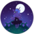 Size: 600x600 | Tagged: safe, artist:milkcubus, princess luna, anthro, animal crossing, clothes, crossover, cute, dress, field, flower, hill top, horse face, lunabetes, moon, night, simple background, stars, sundress, transparent background, video game