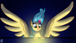 Size: 2191x1246 | Tagged: safe, artist:rainbow eevee, princess skystar, classical hippogriff, hippogriff, my little pony: the movie, atg 2019, cute, eyes on the prize, female, flower, flower in hair, looking down, newbie artist training grounds, simple background, solo, treasure, windswept mane