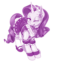 Size: 1280x1373 | Tagged: safe, artist:dstears, rarity, pony, unicorn, clothes, cute, female, maid, mare, monochrome, one eye closed, open mouth, pretty, raribetes, shoes, simple background, smiling, solo, white background, wink