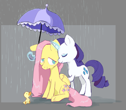 Size: 1500x1313 | Tagged: safe, artist:friendlyraccoon, fluttershy, rarity, pegasus, pony, unicorn, duckling, female, flarity, folded wings, lesbian, magic, mare, no pupils, rain, shipping, sitting, smiling, umbrella, wings
