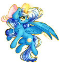 Size: 3096x3400   Tagged: safe, artist:kindny-chan, oc, oc only, oc:fleurbelle, alicorn, pony, alicorn oc, bow, commission, female, hair bow, magic, mare, simple background, smiling, solo, transparent background