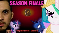 Size: 1280x720 | Tagged: safe, artist:pony-o bros., princess celestia, princess luna, twilight sparkle, alicorn, earth pony, human, pegasus, pony, unicorn, series:pony meets world, bandage, book, book of friendship, community related, facial hair, female, glowing eyes, house, irl, irl human, jared armstrong, joey orpesa, link in description, mare, mare in the moon, moon, moustache, photo, playing dead, sunglasses, thumbnail, unamused, unicorn twilight, youtube link