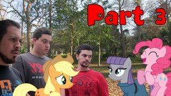 Size: 1280x720 | Tagged: safe, artist:pony-o bros., applejack, maud pie, pinkie pie, alicorn, earth pony, human, pegasus, pony, series:pony meets world, series:pony meets world season 2, bandage, book, book of friendship, community related, facial hair, female, hat, house, irl, irl human, jared armstrong, joey orpesa, link in description, mare, mare in the moon, moon, moustache, photo, ponies in real life, thumbnail, unamused, youtube link