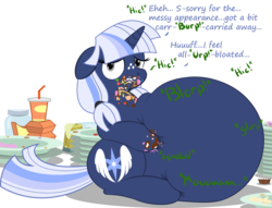 Size: 4628x3536 | Tagged: safe, artist:steampunk-brony, artist:zeldafan777, edit, oc, oc only, oc:silverlay, unicorn, series:bloated silvie collection, absurd resolution, adorafatty, belly, big belly, bloated, burp, chubby, cute, eating, eating too much, fat, female, floppy ears, gross, hiccups, huge belly, impossibly large belly, jar, junk food, large belly, mare, messy, messy eating, morbidly obese, obese, ocbetes, overeating, overweight, part of a set, plate, silvabetes, silverlard, simple background, sitting, soda, squishy, squishy belly, stomach noise, stuffed, stuffed belly, text, that pony sure does love cakes, that pony sure does love eating, transparent background, weight gain