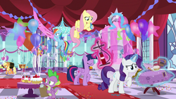 Size: 1920x1080 | Tagged: air pump, alicorn, applejack, applejack's hat, balloon, between dark and dawn, blowing up balloons, canterlot castle, cowboy hat, decoration, dragon, earth pony, female, fluttershy, food, glowing horn, hat, horn, horseshoes, inflating, magic, male, mare, note, party, pegasus, pony, pumping, rainbow dash, rarity, safe, screencap, spike, spoiler:s09e13, stars, statue, streamers, telekinesis, twilight sparkle, twilight sparkle (alicorn), unicorn, winged spike
