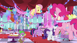 Size: 1920x1080 | Tagged: air pump, alicorn, applejack, applejack's hat, balloon, between dark and dawn, blowing up balloons, canterlot castle, cowboy hat, decoration, dragon, earth pony, female, fluttershy, food, glowing horn, hat, horn, horseshoes, inflating, magic, male, mane seven, mane six, mare, note, party, pegasus, pinkie pie, pony, pumping, rainbow dash, rarity, safe, screencap, spike, spoiler:s09e13, stars, statue, streamers, telekinesis, twilight sparkle, twilight sparkle (alicorn), unicorn, winged spike