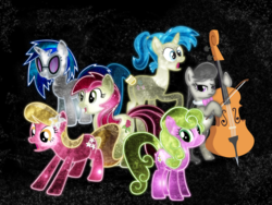 Size: 1600x1200 | Tagged: safe, artist:morningstar-1337, allie way, dj pon-3, lily, lily valley, octavia melody, roseluck, vinyl scratch, pony, background pony, neon, space