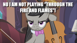 Size: 1669x939 | Tagged: bow (instrument), caption, cello, edit, edited screencap, glare, image macro, musical instrument, octavia is not amused, octavia melody, safe, screencap, slice of life (episode), text, unamused