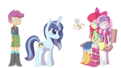 Size: 1280x720 | Tagged: apple bloom, apple bloom's bow, artist:blinkingpink, boots, bow, clothes, cute, equestria girls, hair bow, headband, hypno eyes, hypnosis, hypnotized, oc, oc:spiral swirl, pendulum swing, pocket watch, safe, scootaloo, shoes, sitting, sweetie belle, unicorn