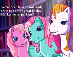 Size: 729x567 | Tagged: safe, edit, edited screencap, screencap, minty, pinkie pie (g3), sunny daze (g3), pony, a very pony place, two for the sky, cropped, cute, dazeabetes, dialogue, diapinkes, g3, grammar error, mintabetes, misspelling, speech
