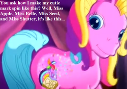 Size: 755x532 | Tagged: safe, edit, edited screencap, screencap, storybelle, a very pony place, two for the sky, spoiler:s09e12, cute, cutie mark, g3, implied apple bloom, implied babs, implied cutie mark crusaders, implied scootaloo, implied sweetie belle, speech, spinning, storybetes