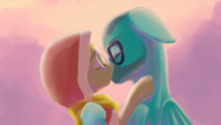 Size: 768x432 | Tagged: artist:tehwatever, background pony, canon x oc, couple, cute, daaaaaaaaaaaw, desert flower, digital art, earth pony, eyes closed, female, gameplay x desert flower, glasses, hijab, kissing, love, male, mare, oc, oc:gameplay, passionate, pegasus, pony, safe, somnambula resident, stallion
