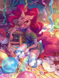 Size: 2067x2716 | Tagged: safe, artist:holivi, pinkie pie, earth pony, anthro, unguligrade anthro, aftermath, balloon, bedroom eyes, birthday, birthday party, blushing, cake, clothes, commission, cup, denim skirt, exhausted, female, floppy ears, food, hat, high res, legs, lidded eyes, looking at you, messy tail, open mouth, party, plate, shirt, skirt, smiling, socks, solo, striped socks, suspenders, sweat, thigh highs, undershirt