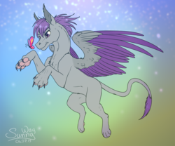 Size: 1200x1000 | Tagged: artist:sunny way, butterfly, catching, claws, flying, leonine tail, male, oc, oc:corpsly, oc only, paw pads, paws, pony, rcf community, safe, solo, sphinx, sphinx oc, toe beans, two toned wings, wings