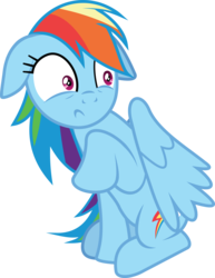 Size: 11942x15486 | Tagged: absurd res, artist:wissle, female, floppy ears, mare, pony, rainbow dash, raised hoof, safe, scared, shocked, shocked expression, simple background, solo, transparent background, vector, wide eyes
