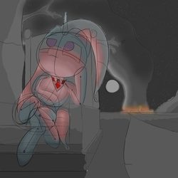 Size: 2048x2048 | Tagged: artist:snezhok42, atg 2019, bad end, incomplete, newbie artist training grounds, safe, sitting, sketch, trixie