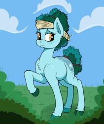Size: 3873x4580 | Tagged: artist:paskanaakka, butt freckles, chest fluff, colored hooves, derpibooru exclusive, ear fluff, earth pony, female, freckles, headscarf, mare, oc, oc:gleamblossom, oc only, safe, scarf, shoulder freckles, solo, tail wrap, unshorn fetlocks