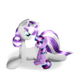 Size: 800x758 | Tagged: artist:vikuskaal, blank flank, duo, duo female, eye contact, female, filly, filly twilight sparkle, foal, looking at each other, mother and daughter, pony, prone, safe, simple background, sitting, transparent background, twilight sparkle, twilight velvet, unicorn, younger