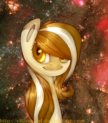 Size: 1054x1200 | Tagged: artist:vikuskaal, earth pony, female, mare, oc, oc:cookie, oc only, pony, safe, smiling, solo, space