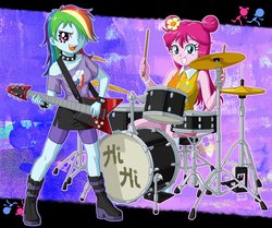 Size: 2500x2094 | Tagged: safe, artist:uotapo, pinkie pie, rainbow dash, equestria girls, 2014, alternate hairstyle, ami onuki, armpits, band, boots, cartoon network, choker, clothes, compression shorts, crossover, cute, cymbals, dress, drum kit, drums, drumsticks, electric guitar, guitar, hair over one eye, hi hi puffy ami yumi, hi-hat, high res, miniskirt, musical instrument, open mouth, shoes, shorts, side slit, skirt, spiked choker, yumi yoshimura