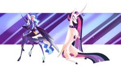 Size: 3372x1880 | Tagged: safe, artist:iheyyasyfox, princess celestia, princess luna, pony, between dark and dawn, spoiler:s09e13, 80s princess luna, alternate hairstyle, duo, duo female, female, punklestia, royal sisters
