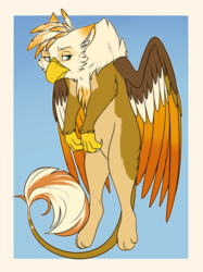 Size: 1108x1480 | Tagged: safe, artist:sungoddessokami, oc, oc only, oc:ember burd, griffon, behaving like a cat, colored wings, dangling, eared griffon, gradient background, gradient wings, griffon oc, grumpy, looking to side, male, multicolored wings, paws, scruff, solo, spread wings, talons, wings