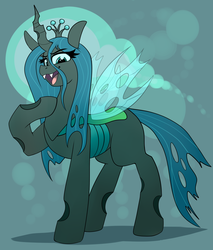Size: 3360x3940 | Tagged: safe, artist:graphene, queen chrysalis, changeling, changeling queen, atg 2019, bokeh, crown, female, high res, looking at you, newbie artist training grounds, open mouth, pointing at self, regalia, solo