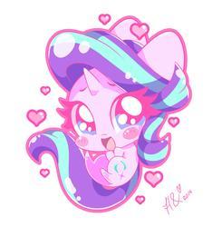 Size: 3480x3720   Tagged: safe, artist:hungrysohma, starlight glimmer, pony, unicorn, blush sticker, blushing, chibi, cute, female, glimmerbetes, heart, high res, mare, simple background, solo, white background