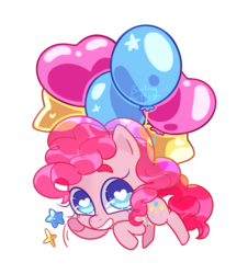 Size: 1280x1419   Tagged: safe, artist:boringartist, pinkie pie, pony, balloon, chibi, cute, diapinkes, female, floating, heart eyes, simple background, smiling, solo, stars, then watch her balloons lift her up to the sky, transparent background, wingding eyes